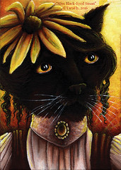 Miss Black Eyed Susan Cat (TaraFly) Tags: blackcat catart catpainting catportrait blackeyedsusan flower catinclothes catinclothing catincostume acrylics traditionalmedia paint