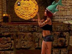 Mayan Ruins, RUINED (Veruca.Beck) Tags: travel vacation white silly southamerica girl smile hat mexico temple shark funny maya mesh head infinity joke avatar culture kitsch tourist hike resort pizza blueberry american mayan jungle medallion atomic wacky emporium annoying sacrifice obnoxious selfie slink pyramidruins selfiestick