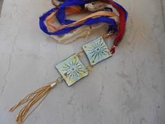 DSCN3178 (katerina66) Tags: texture necklace polymerclay tassel polymer handmadejewellery silksari κολιέ χειροποίητο πολυμερικόσάργιλοσ