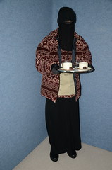 Waitress in warm fleece jacket (Warm Clothes Fetish) Tags: winter girl warm hijab apron jacket sweat waitress fleece niqab maid slave burka chador
