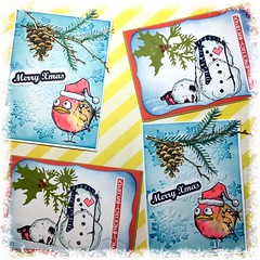 Christmas cards (Stampinkie) Tags: christmas holidays handmade rubberstamping timholtz distressink stampotique birdcrazy