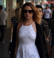 Lady in White (drez5mond) Tags: city woman white dress candid shades pokies