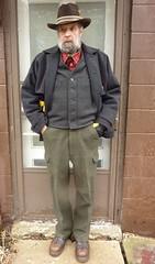 1-16-2017 Today's Clothes (Michael A2012) Tags: this mans winter style filson mackinaw double bibs vest wool stetson gun club 3x beaver handsewn hand sewn tartan dr martens 8287 wells lamont goatskin