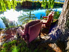 The Sunshine Seats (Steve Taylor (Photography)) Tags: graffiti tag chair seat water river newzealand nz southisland canterbury christchurch city tree branch reflection spring sunny sunshine weepingwillow avon armchair he grea