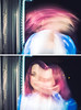 018 (amyjutras) Tags: self selfportrait blurry ghostly ghost haunting weird strange pink blue diptych