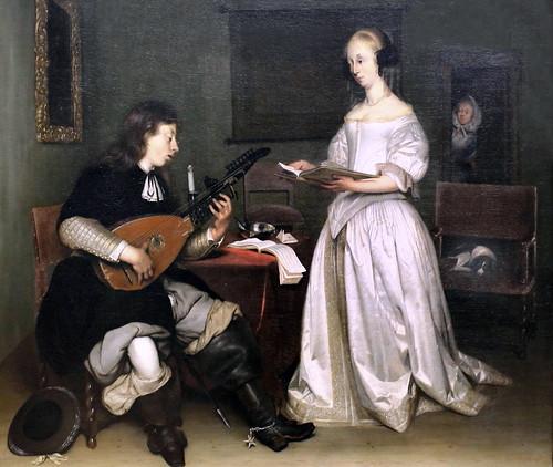 IMG_0595DB Gérard Ter Borch 1617-1681. Deventer. Amsterdam. Münster.   Le Duo  Chanteuse et joueur de luth théorbé. The Duo Singer and Lute Player Theorbé.  1669 Louvre
