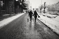 Walk the dog (Kostas Katsouris) Tags: people snow dog sofia bulgaria street cold urban fuji xt10 city bw couple girlfriend together