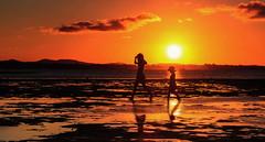 Summer Dazzle - Explored 23/01/2017 (Beth Wode Photography) Tags: sunset sundown silhouette orange orangesky lowtide wellingtonpoint 2girls redlands beth wode bethwode