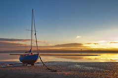 Sunderland Point (Robert McEwen) Tags: sunset boat sailing fishing beach sand sea seaside dusk sunderlandpoint wow