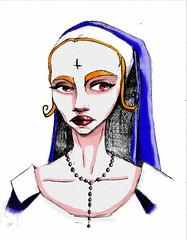Mala (Niluna nisol) Tags: mujer monja women nun bad mala color digital dibujo drawing ilustración illustration lapicera pen art arte niluna nisol