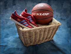 Basketball (deltic22) Tags: ball trainers sport dunlop studio tabletop wicker basket