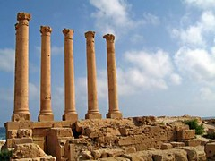 pillars of sabratha in Libya (chooska) Tags: africa travel architecture canon ruins asia roman east middle pillars libya sabratha