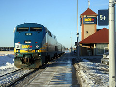 A Via Rail locomotive parked at Fallowfield station, near Ottawa. (Steve Brandon) Tags: railroad winter 15fav ontario canada station geotagged ottawa railway trains locomotive viarail nepean genesis lrc barrhaven fallowfield generalelectric bombardier carriages  918   p42  generalelectricgenesis p42genesis generalelectricp42genesis genesislocomotive bombardierlrc