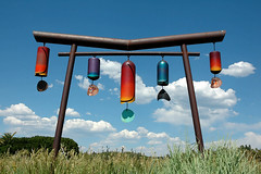 Bill Loyd - Truchas, NM (Mary Hockenbery (reddirtrose)) Tags: sky sculpture newmexico art topf25 clouds bells cool topv555 topv333 colorful artist bell recycled topv1111 topv999 topv777 windchimes gongs reallycool truchas zip87578 dilojun06 billloyd