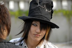 Cosplayer (manganite) Tags: portrait people men boys topf25 face hat fashion japan digital mouth asian photography japanese tokyo costume interestingness cool nikon bravo asia cosplay tl candid gothic young makeup teens posing style guys streetscene lips piercing topf300 explore harajuku fancy teenager d200 dslr stylish theface  contactlens topf400 interestingness4 fav100 fav200 fav300 i500 18200mmf3556 utatafeature manganite nikonstunninggallery ipernity angkorsingle abigfave date:year=2006 fav400 date:month=june date:day=24 format:ratio=32