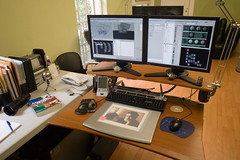 My Workstation at Cluster (a.ricalde) Tags: office maya desk cluster teapot workstation alias doc hermanmiller wacom mirra viewsonic nostromo cassiopeia
