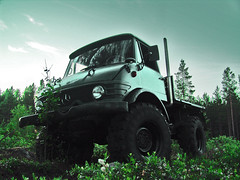 Unimog (1964) (Sameli) Tags: auto road wood old trees summer wallpaper reflection tree green cars nature car wheel forest truck reflections suomi finland mercedes benz cool woods shiny offroad wheels scene off reflect mercedesbenz trucks uni autos scenes mb forests unimog 1964 mog