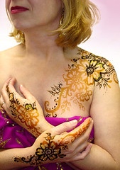 Henna and gold guilding on model (HennaMe) Tags: pictures ohio art photos body paste cleveland tattoos oh henna temporary bodyart mehndi
