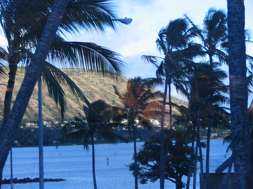 sunlit Maunalua, view from our corner table at Roy's Restaurant in Hawaii Kai