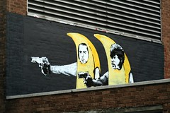 banana pulp fiction (areyarey) Tags: streetart london fruit graffiti stencil vincent banksy banana pulpfiction jules oldstreet samuelljackson urgeoverkill johntravolta tarantino bananapulpfiction areyarey