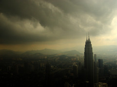 Stormy Twin Towers 1 (neueweide) Tags: city urban storm skyline clouds dark town asia horizon fear monsoon malaysia twintowers thunderstorm tall kualalumpur birdseyeview atmospheric tallbuildings skyskraper fehlart