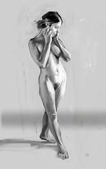 anatomysketch014 (xdorjex) Tags: blackandwhite woman standing painting nude sketch gray figure dorje paintinginphotoshopisfun
