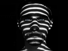 Zebra - B&W (Don Gru) Tags: blue light shadow portrait blackandwhite white selfportrait black me canon jalousie ixus700 sunblind 123bw bwartaward