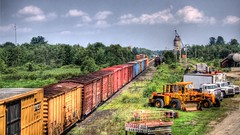 trains (Lawrence Whittemore) Tags: railroad trees sky clouds train airplane lawrence maine trains trucks tractors hdr hermon whittemore