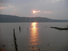 Sunset over the Hudson 1 (noahg.) Tags: sunset sun clouds river gold pier july hudson julyfourth sanyoc6