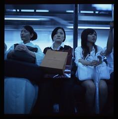 Blue Train Girls (jenny webber) Tags: blue japan tokyo trains line tungsten saitamaken tobu tojo