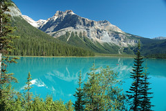 Emerald Lake (Jimbo1239) Tags: lake mountains color reflection water 500v20f nikond70 topv1111 bluesky canadianrockies naturescenes yohonationalpark interestingnesstop10 jimbo1239 abigfave bachspicsgallery