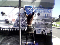 Glenda @Mary Street Day One (Glenda GlitaGrrl) Tags: wallpaper stencils pasteup art girl vintage stars graffiti mural phone selfportraits adventure leopard tiles newtown authorised glitagrrl glendapontes