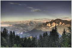Haute Savoie Sunset (VeloManiac) Tags: sunset france mountains nature topv111 clouds topf50 topv555 topv333 top20sunrisesunset topv1111 topc50 2006 topv777 hdr naturesfinest specland abigfave francelandscapes frpix
