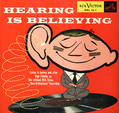 HEARING IS BELIEVING | rca victor recording (Max Sparber) Tags: album cartoon cover lp ear record