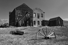 Bodie, California (clasch) Tags: bodie state historic park california usa united states america ghost village town abandoned decayed forgotten lost mono monochrome black white bw building nature house architecture wood cart wheel ruin old nikon d7000 nikkor 1224