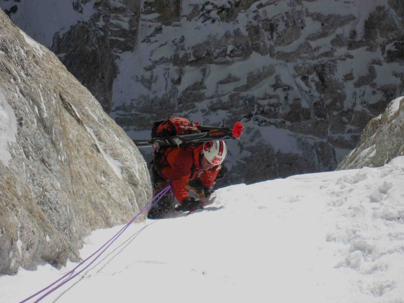 Reed Finlay surmounts an ice buldge in the Chevy Couloir on the Grand Teton