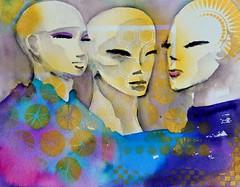 Aloha - Love, Peace and Compassion (Cheryl Nelson Kellar) Tags: mountain art watercolor painting hawaii women waikiki oahu cancer bald honolulu aloha survivor watermedia wwwcherylkellarcom