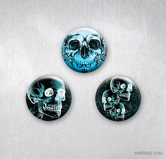 Xray Skulls Design Pinback Buttons by Sherrie Thai (shaire productions) Tags: art shop illustration dayofthedead skulls death design artwork graphics image designer handmade buttons surrealism gothic goth picture surreal photograph bones horror illustrator etsy pinback animalskulls indiedesigner sherriethai shaireproductions