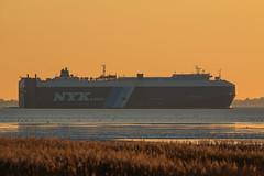 Opal Leader (spotterblog) Tags: sunset reflection landscape sonnenuntergang natur vessel leader opal nordsee spiegelung schiff leuchtturm wremen nyk kleinerpreuse wremertief