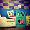 IT'S ALMOST ALL CARDBOARD (Abbigail and Billy Lilly) Tags: dog color cute art kitchen television vintage design tv soap colorful paint fifties toaster sink retro gingham pot cardboard papier mache appliances