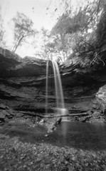 Cucumber Falls OhioPyle Pinhole (The Stugots) Tags: park bw white black fall 120 film water monochrome analog dead stand is still shoot pittsburgh fuji state image kodak pennsylvania hc110 falls pinhole semi iso fujifilm medium format neopan 100 analogue developed zero development bnw zeroimage develop acros zero69 filmisnotdead cucmber issf