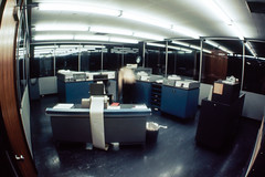 19750201_F06331_AP-SPII-17 CFM Computer room (johnstewartnz) Tags: film computer pentax takumar rocky slide scan fisheye transparency epson 17mm v700 icl epsonv700 markreeves asahipentaxspii takumar17mmfisheye internationalcomputerslimited 1901a icl1901a