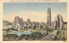 World's Fair Tower and Sunken Gardens - 1939 Golden Gate International Exposition - San Francisco, California (The Cardboard America Archives) Tags: sanfrancisco california vintage expo postcard 1939 worldsfair