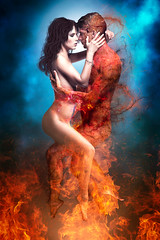 Ascending (Ian_Arneson) Tags: blue red sky love beautiful beauty angel nude fire kiss couple heaven good fineart hell creative evil burn passion demon savior fineartphotography ornage