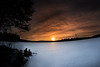 Cross country skiing in frozen lake (vilomaki) Tags: landscape skiing winter sunset evening lake samyang8mmf35 orange snow suomi finland samyang