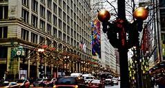 Macy's State Street - Chicago IL (Meridith112) Tags: chicago chicagoist cookcounty il illinois macys wreath december 2016 winter christmas christmasornament christmaslights merrychristmas nikon nikond610 nikon2485 wscf westsuburbanchicagoflickrers westernsuburbanchicagoflickr flickrgroupmeetup flickrmeetup statestreet marshallfield muddywaters clock street photowalk1252016
