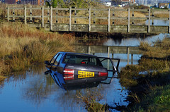 Second accident in Seven Days (David Blandford photography) Tags: calshot calshotbeach sobmerged submerged southamptonwater volvo ditch hampshire