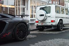 Big Engines (Beyond Speed) Tags: lamborghini aventador sv roadster superveloce supercars supercar automotive automobili nikon v12 london mercedes g63 amg v8 black white