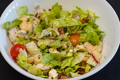 Prawns and salad (garydlum) Tags: limezest prawns limejuice oliveoil lettuce springonion balsamicvinegar blackpepper belconnen redonion tomatoes chillies fetacheese gorgonzolacheese cherrytomatoes canberra cheese chilliflakes