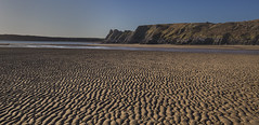 Out Going Tide (Jon and Sian Bishop) Tags: threecliffs gower swansea outdoor area outstanding national beauty sand jon bishop sea cliffs great tor ripples texture ocean horizon landscape canon eos6d river depthoffield depth clarity sky blue aperture january 2017